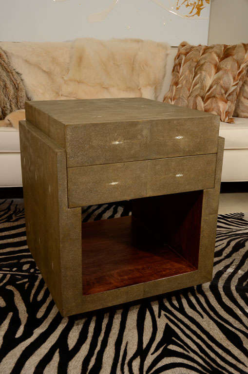 Pair of shagreen side tables nightstands with two drawers. Delivery time 2-3 months. Designed in France.