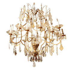 Very Large Italian 16-Arm Venetian Giltwood and Rock Crystal Chandelier