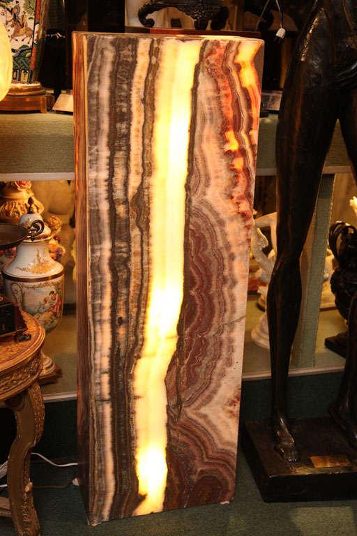 Pair Of Unusual Onyx Pedestal Lamps At 1stdibs