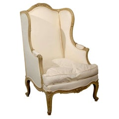 French Louis XV Style 1840s Painted Wingback Bergère Chair with New Upholstery