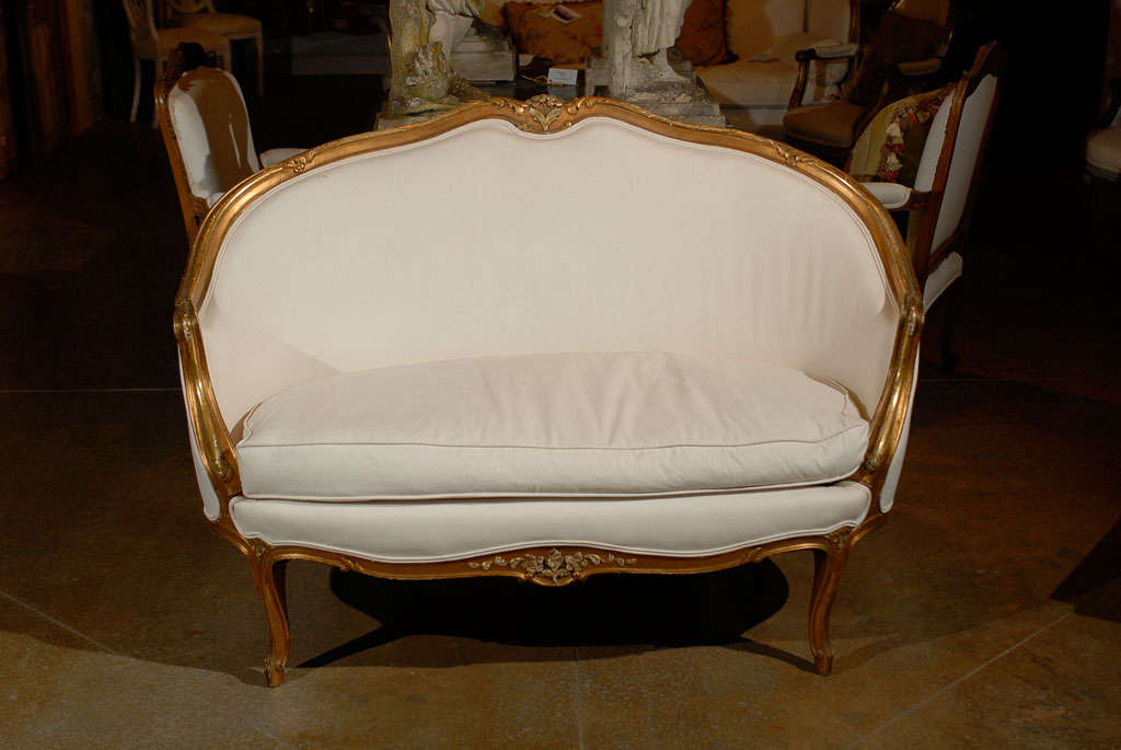Upholstery French, 1860s Louis XV Style Upholstered Giltwood Petite Sofa with Carved Crest For Sale