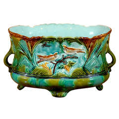 French 1920s Majolica Two-Handled Cachepot with Birds and Dragonfly Motifs