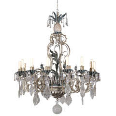 Antique Chandelier. Painted iron and crystal chandelier
