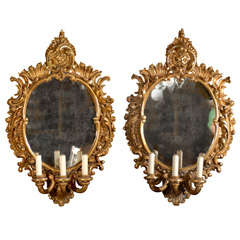 Pair of mirrored sconces