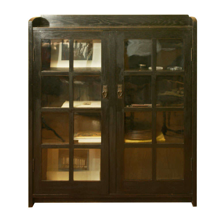 Gustav Stickley Oak & Glass Double-Door Bookcase