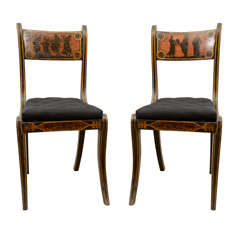 A Pair of English Regency Etruscan Decorated Chairs