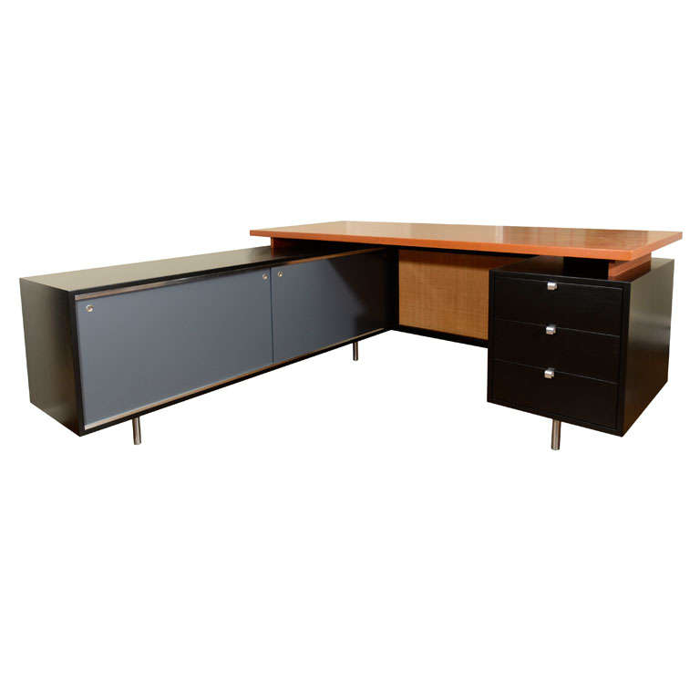 George Nelson L Shaped Executive Desk Mfg Herman Miller