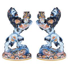 Pair of Antique Lion Form Porcelain Candleholders by Emile Galle