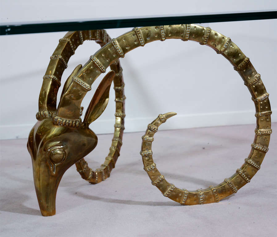 Mid Century Coffee Table with Brass Ibex Head Bases at 1stdibs