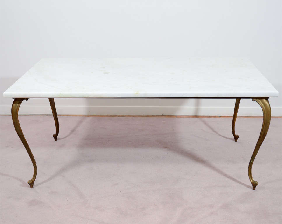 Mid century italian bronze and white marble coffee table White marble coffee table