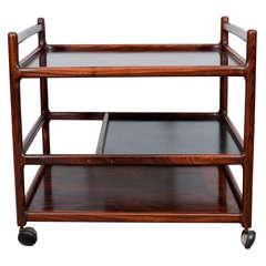 Mid Century Rosewood Three-tier Bar Cart