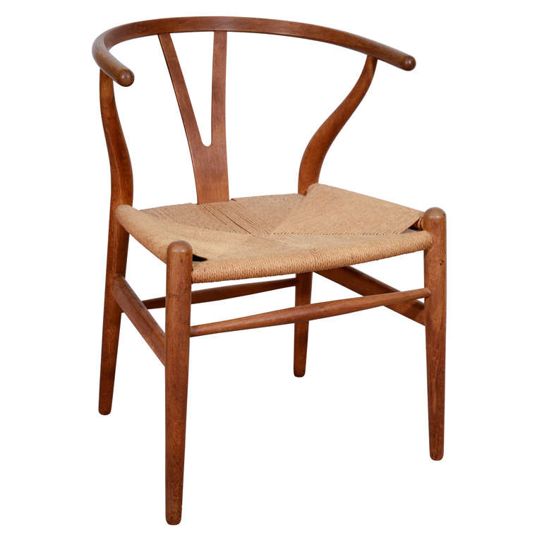 mid century wishbone or y chair by hans wegner at 1stdibs. Black Bedroom Furniture Sets. Home Design Ideas