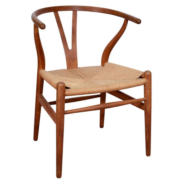 mid century wishbone or y chair by hans wegner at 1stdibs. Black Bedroom Furniture Sets. Home Design Ideas