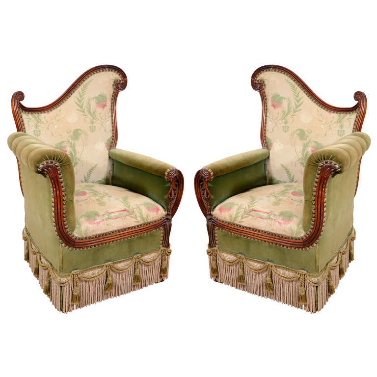 Pair of Vintage Art Deco Style Parlor Chairs 1