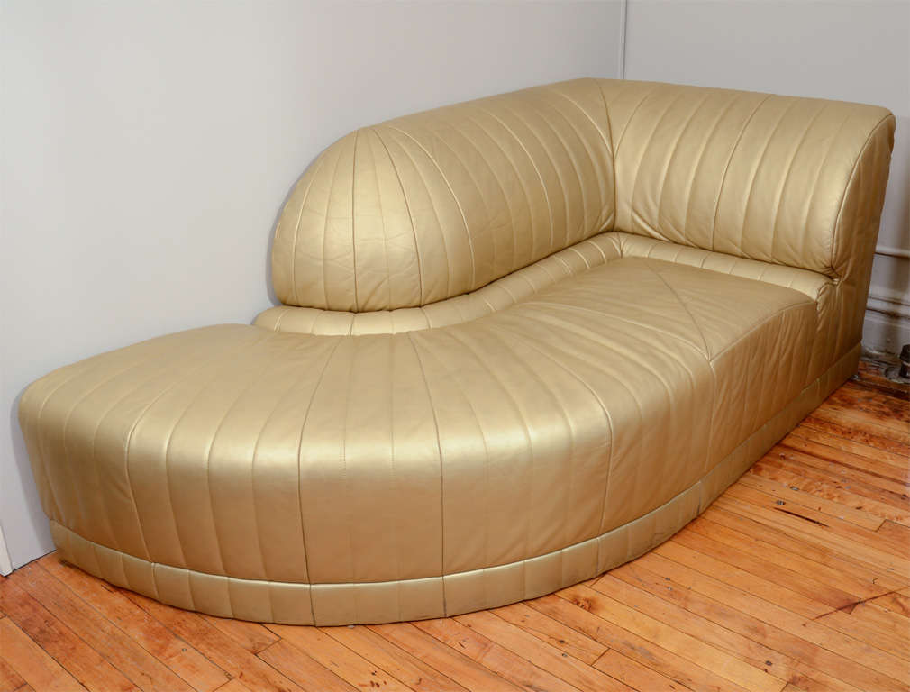 Vintage Art Deco Gold Leather Corner Chaise Lounge 2 : leather corner chaise lounge - Sectionals, Sofas & Couches