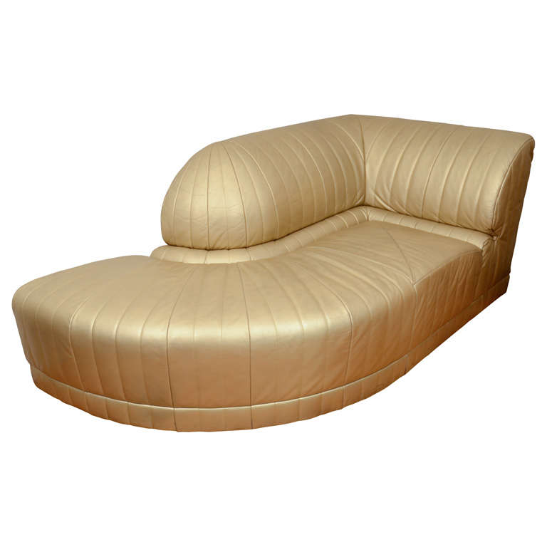 vintage art deco gold leather corner chaise lounge at 1stdibs