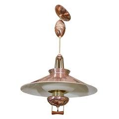 Mid Century Lightolier Adjustable Hanging Light