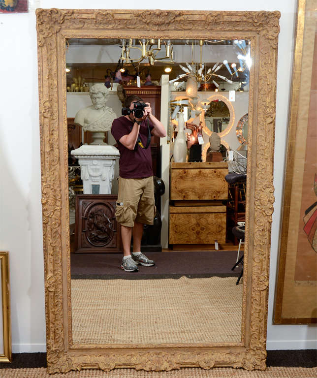 A mirror set in a vintage gilt wood frame. The frame is carved with a vegetal scrolling leaf motif.<br />