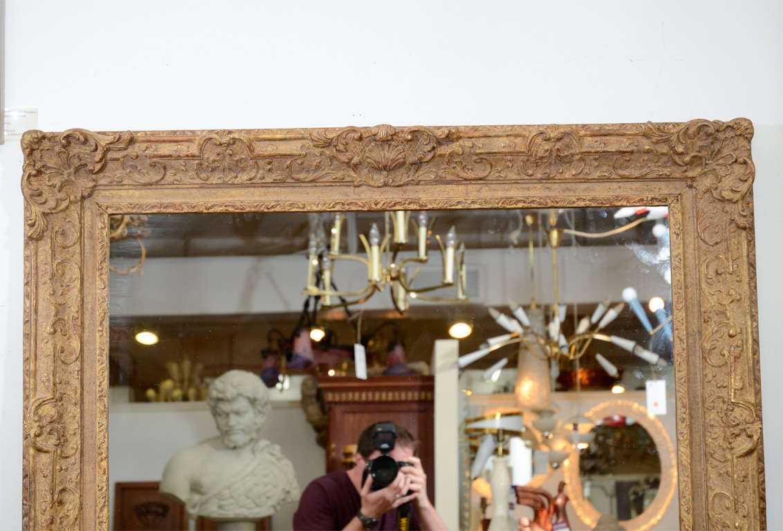 American Large Mirror with Elaborate Vintage Gilt Wood Frame For Sale