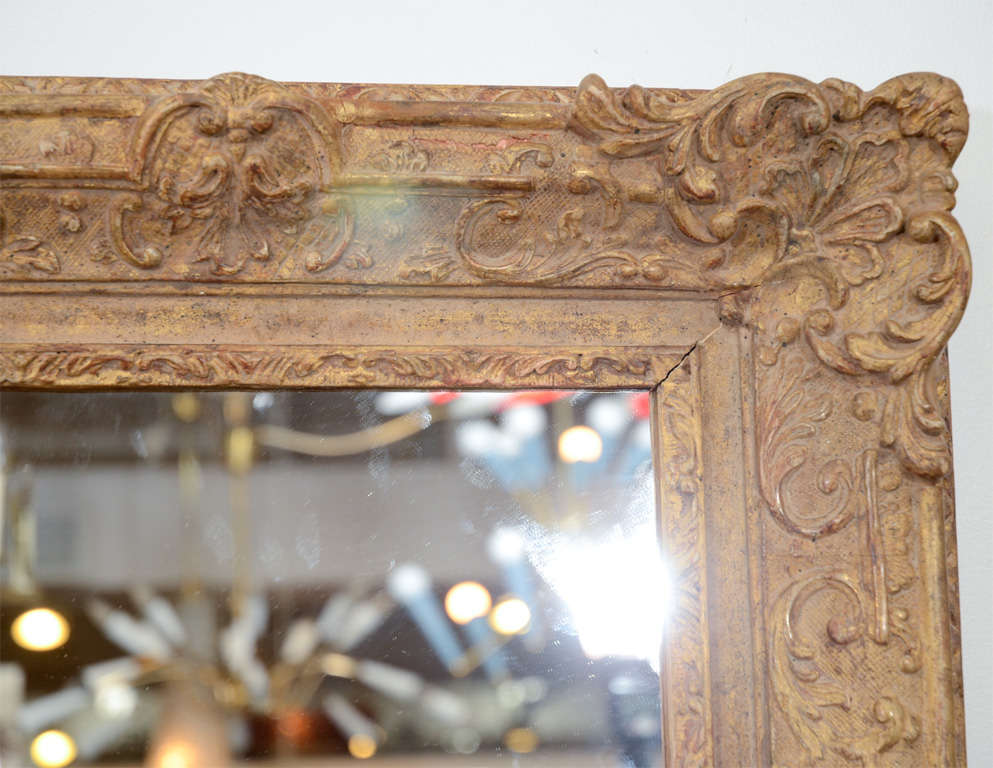 20th Century Large Mirror with Elaborate Vintage Gilt Wood Frame For Sale