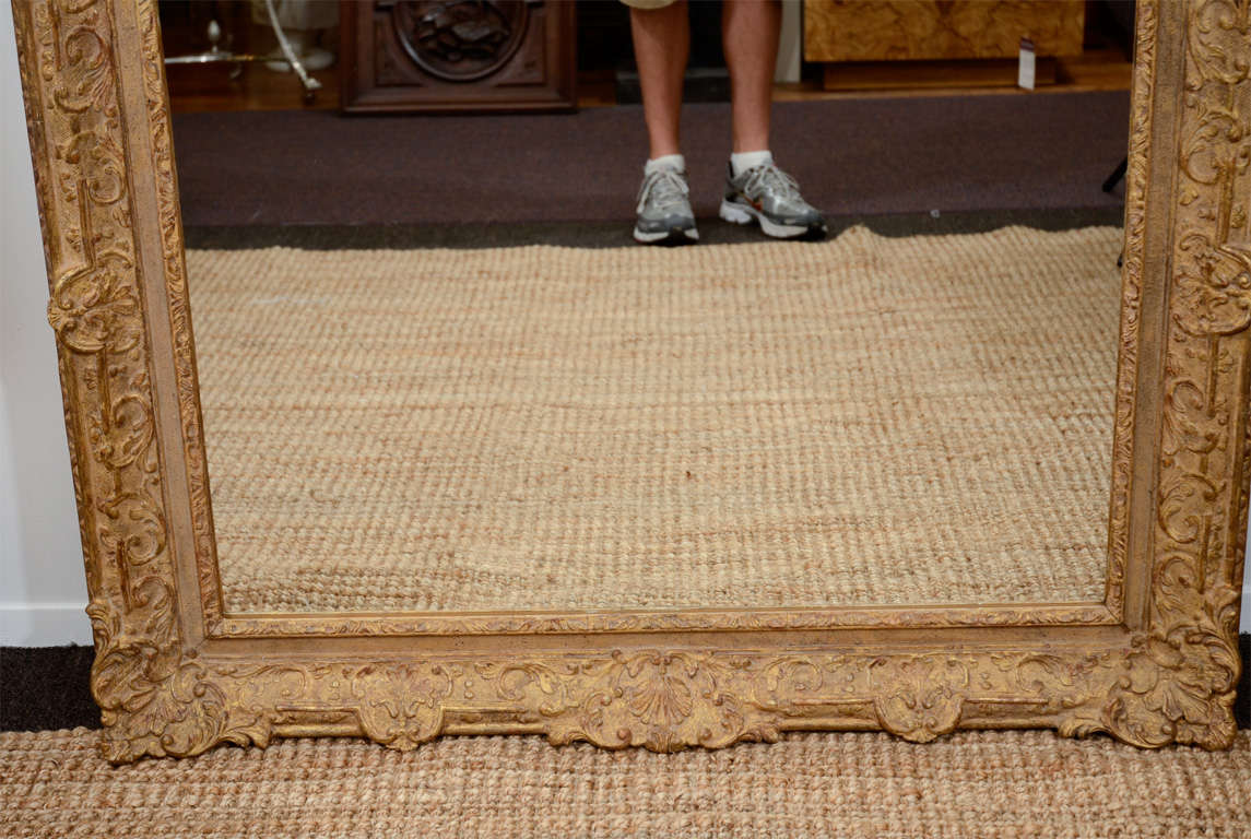 Large Mirror with Elaborate Vintage Gilt Wood Frame For Sale 2