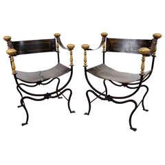 Pair of Vintage Italian Curule Chairs