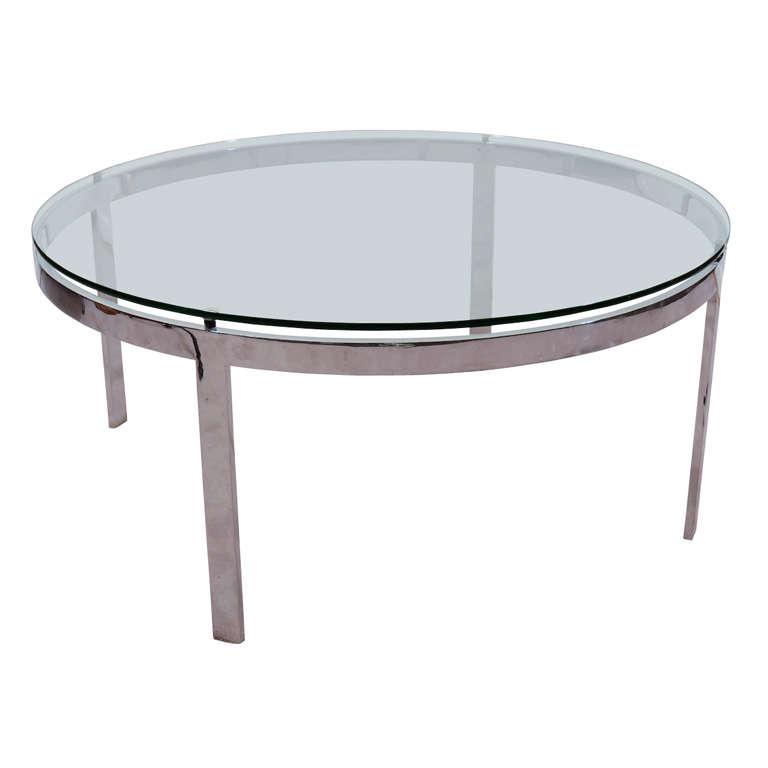 Milo Baughman Chrome Coffee Table: Mid Century Chrome And Glass Cocktail Table By Milo