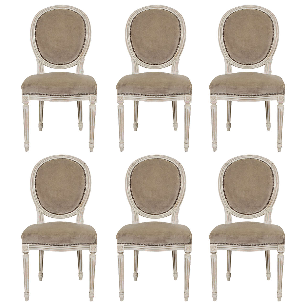 1900s Louis XVI Style Medallion Dining Chairs For Sale