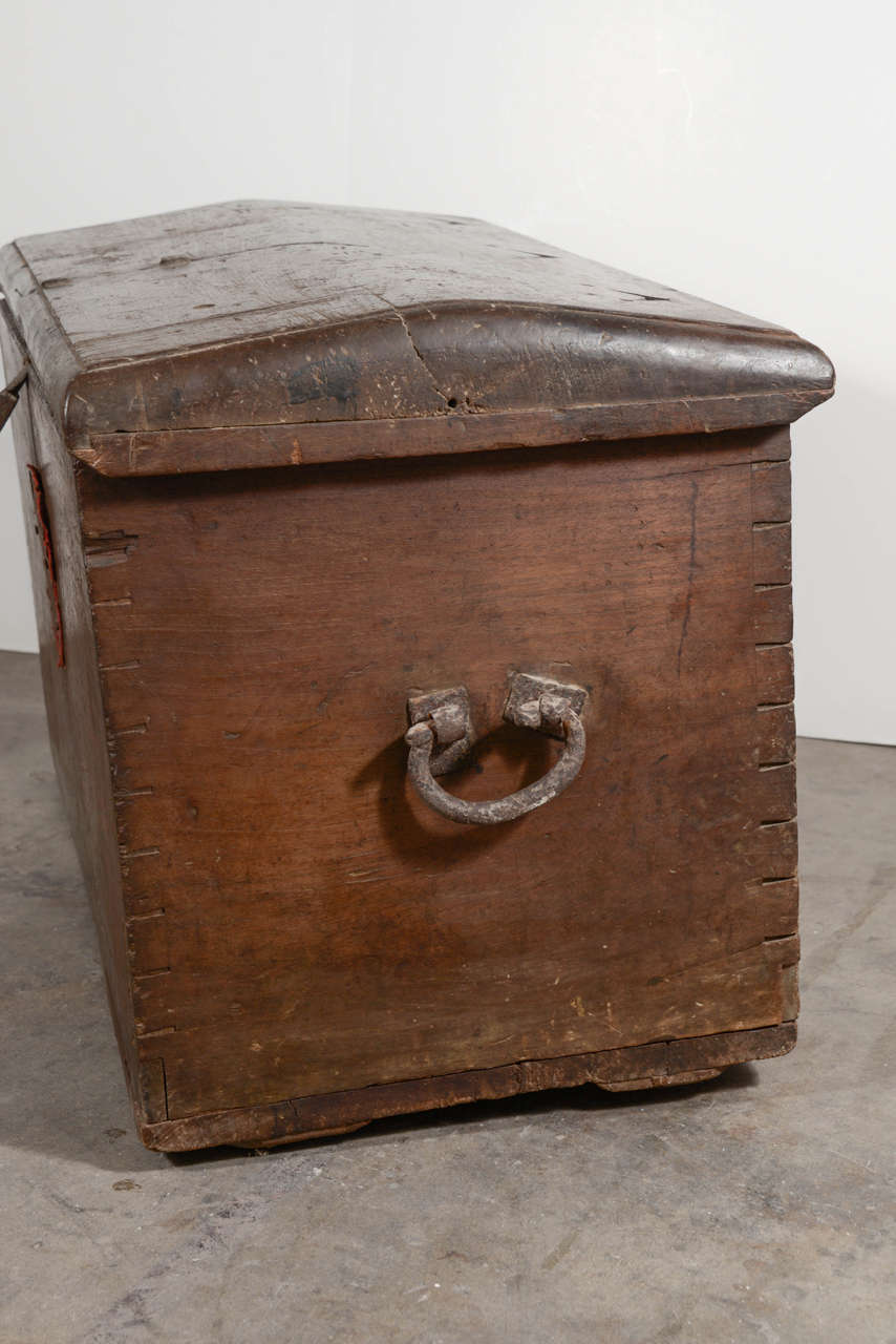 17th Century Spanish Walnut Trunk with Original Hardware For Sale 1