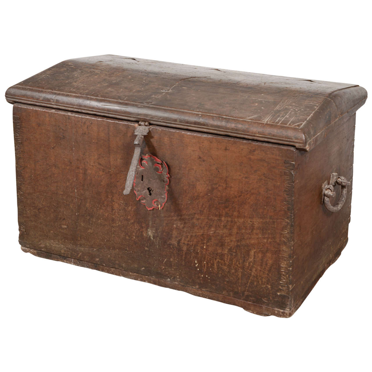 17th Century Spanish Walnut Trunk with Original Hardware For Sale