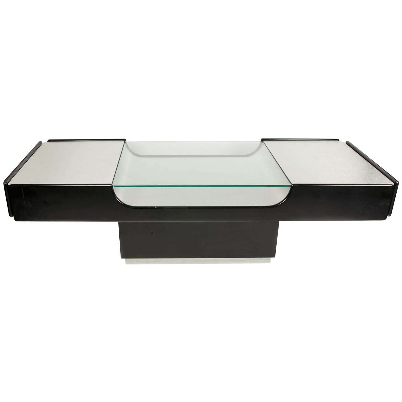 Coffee Table in Steel and Black Lacquer