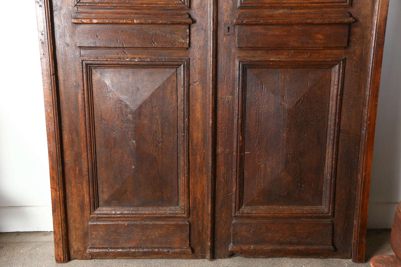 Set of French Painted Double Entry Door with Iron Insert In Fair Condition For Sale In Los Angeles, CA