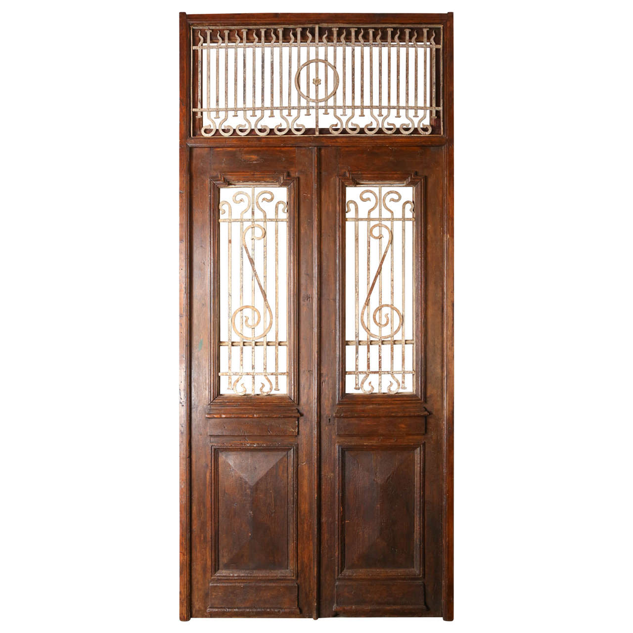 Set of french painted double entry door with iron insert for Double french doors for sale