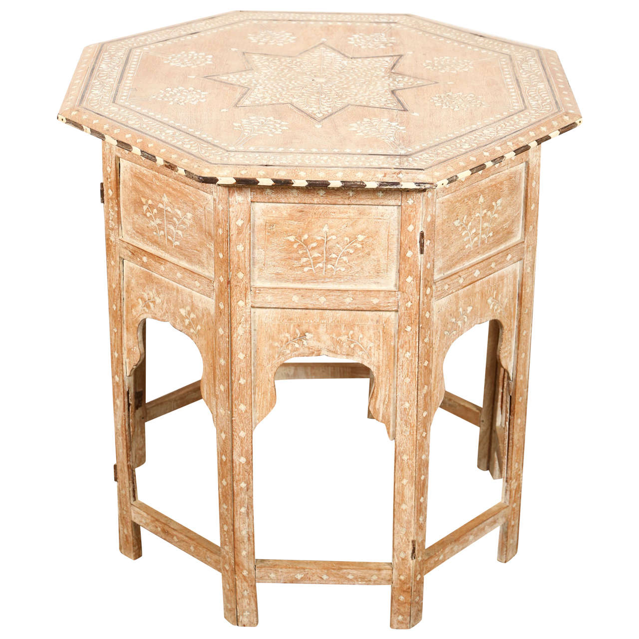 Anglo indian inlaid octagonal side table at stdibs
