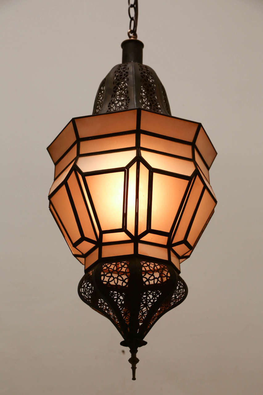 Moroccan Hanging Pendant With Milky Frosted Glass At 1stdibs