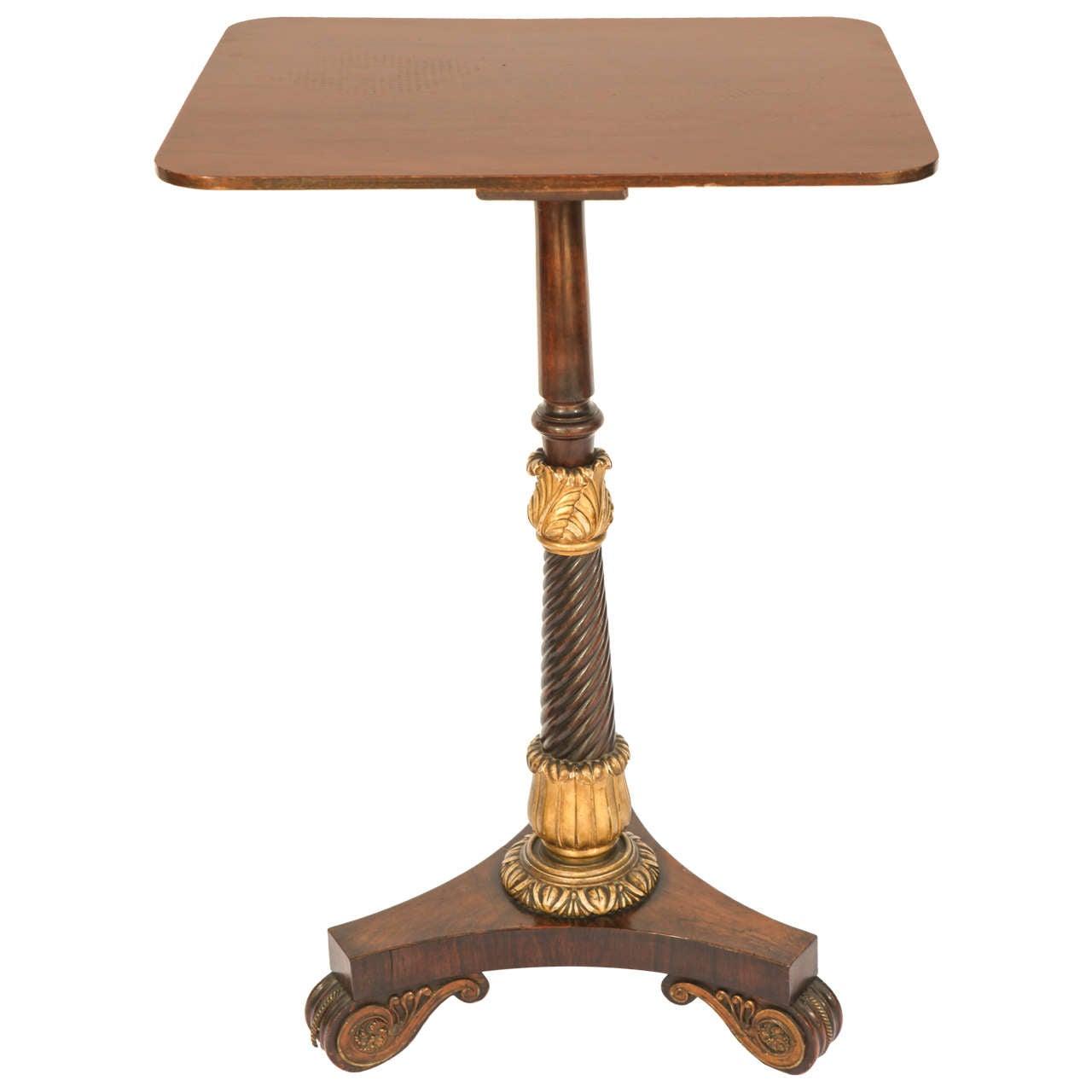 19th Century English Regency Tripod Mahogany Pedestal Table
