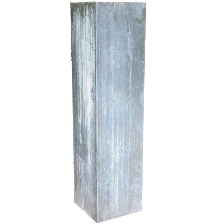 Ashland Pedestal Lantern In Weathered Zinc: A Contemporary Zinc Pedestal At 1stdibs