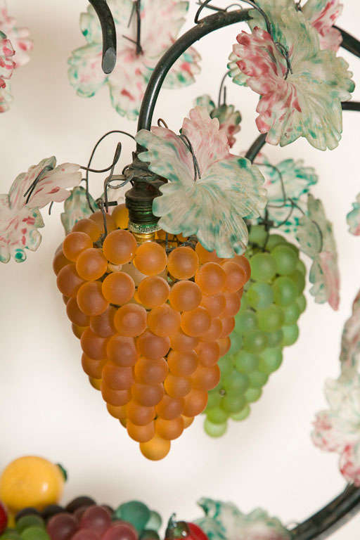 Giant Vintage Italian Glass Fruit Basket Light At 1stdibs