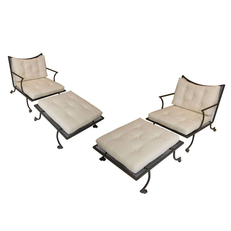 wrought iron patio chairs and ottomans by william haines