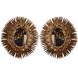 Pair of Mid Century Italian Gilt Sunburst Mirrors