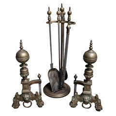 Heavy 19th Century English Brass and Nickel Fireplace Set