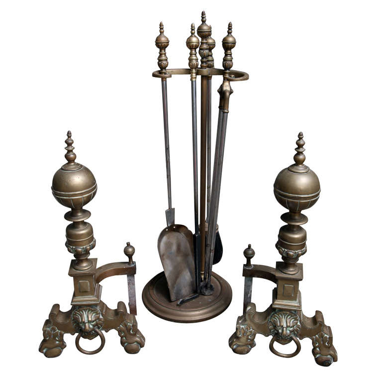 Heavy 19th Century Brass and Nickel Fireplace Set