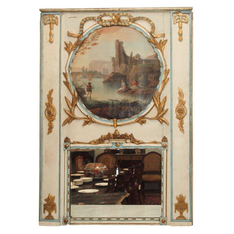 18TH CENTURY FRENCH PARCEL GILT TRUMEAU MIRROR