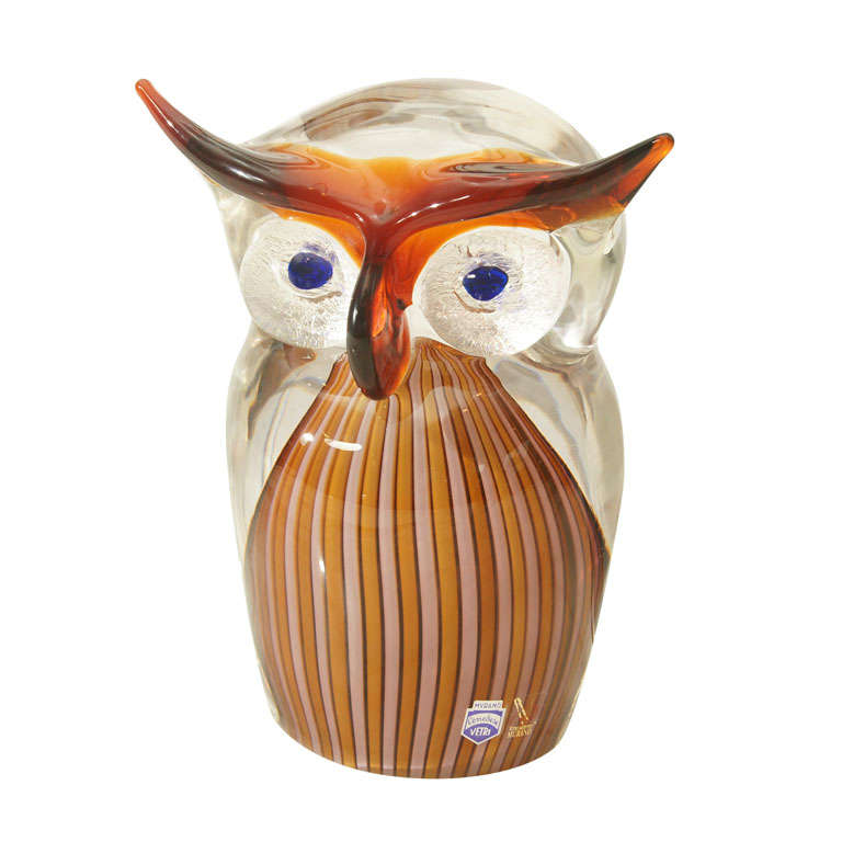 Cenedese Murano Glass Owl At 1stdibs