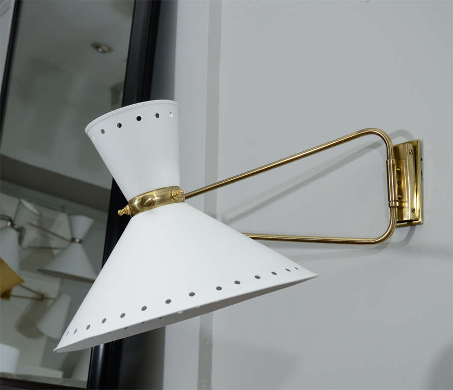 Large Lunel Sconces with Metal Shades In Excellent Condition For Sale In New York, NY