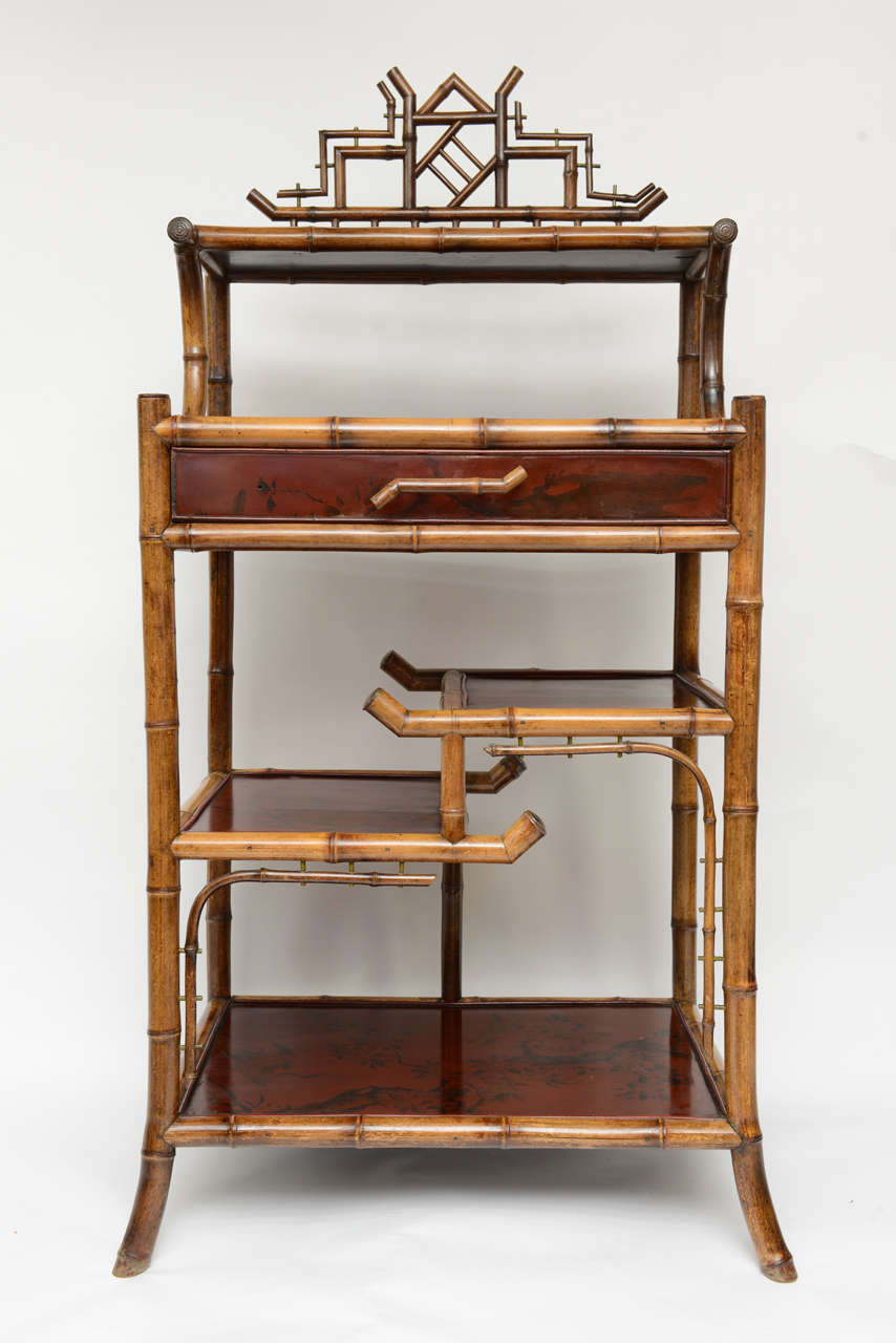 1940 39 s french bamboo server and etagere at 1stdibs for Etagere japonaise