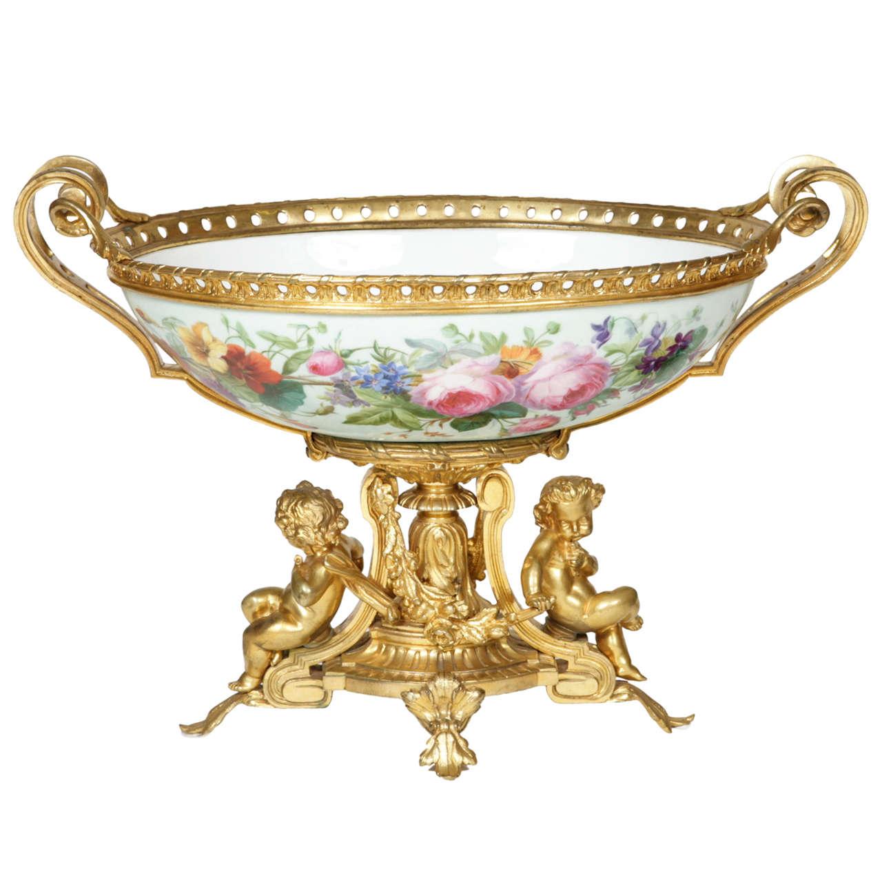 Fine Ormolu and Porcelain Jardiniere Centrepiece