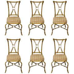 Unusual Set of Six Metal Chairs of Modern Design