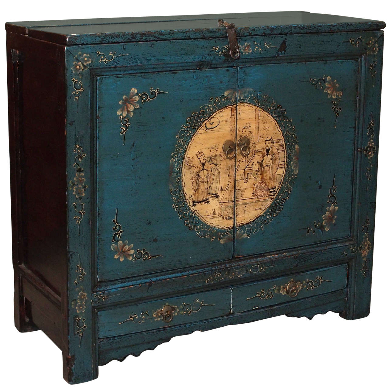 19th century chinese lacquer and painted cabinet at 1stdibs for Chinese art furniture