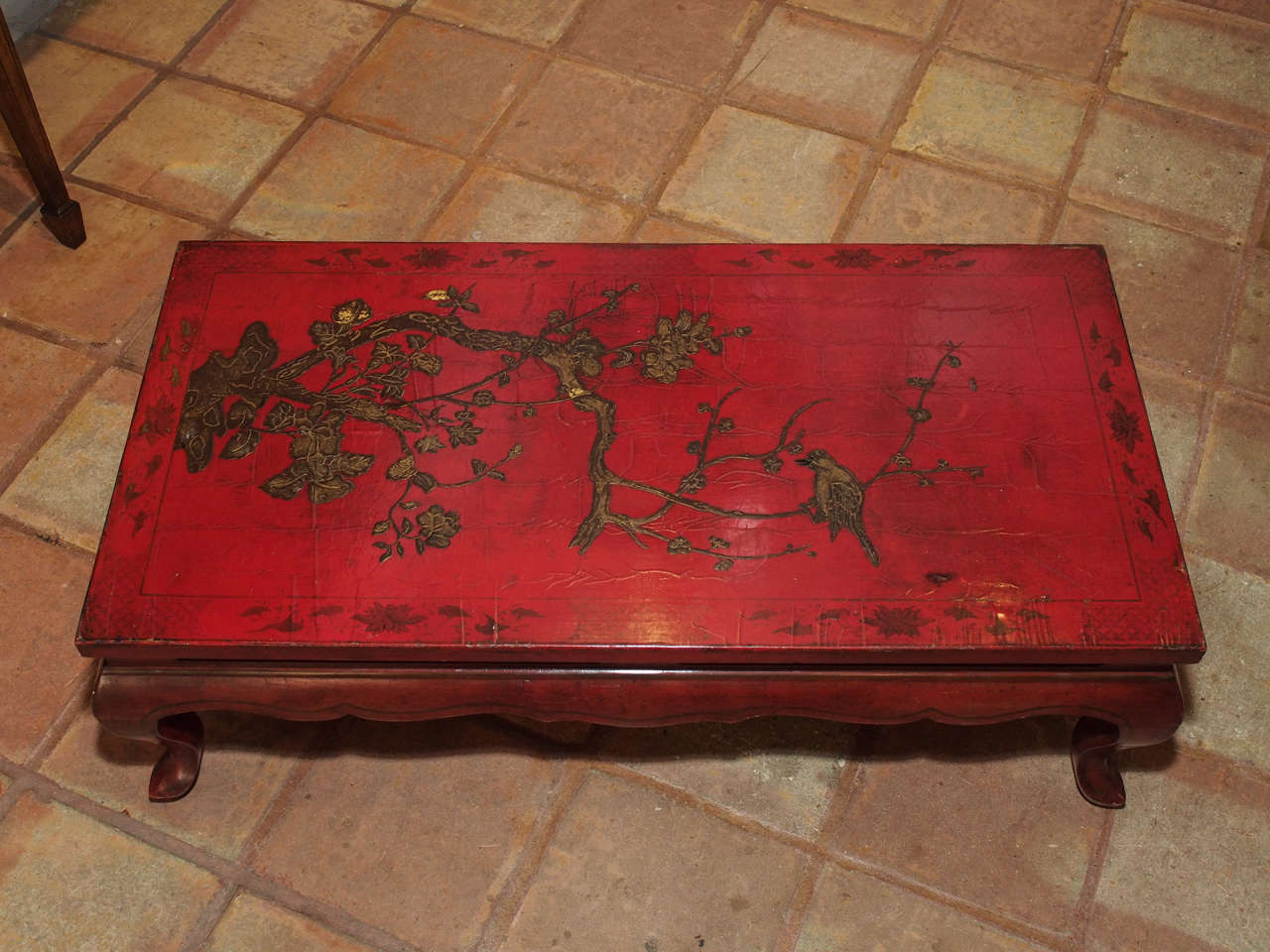 19th Century Chinese Red Lacquer Coffee Table In Excellent Condition For New Orleans